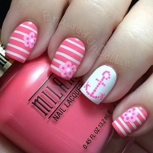 Charming Pink and White Nails with Anchor & Strips Designs for Accent.