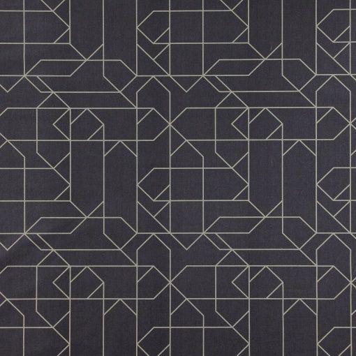Baumwolle, Dunkelblau mit grauem Muster