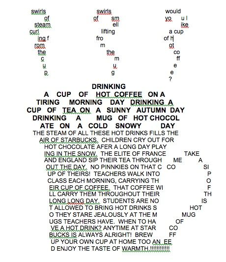 Coffee. Concrete Poetry. Shape Poem developed by Iron Monkey Interactive. (will try to find original poet/designer and post later)