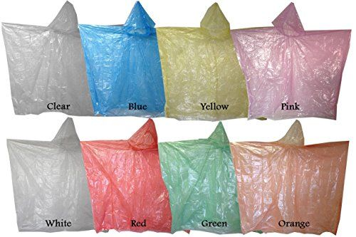Emergency Disposable Rain Ponchos Sold in Packs of 10 and 200 -- Click image to review more details.