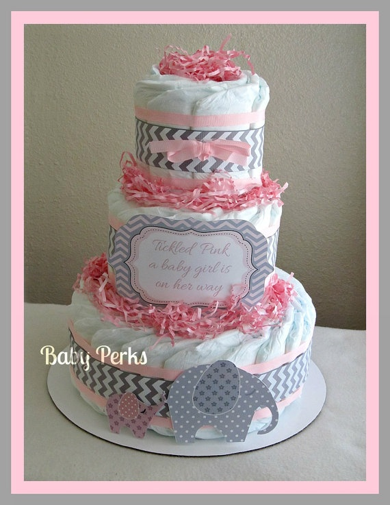 Baby of Mine. Diaper Cake , Pink and Grey Baby Shower , Chevron Baby Shower. $48.00, via Etsy. #babyshower #diapercake