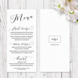 Simplistic wedding menu printed on luxury white or Buffalo Kraft cardstock, Peach Perfect Australia