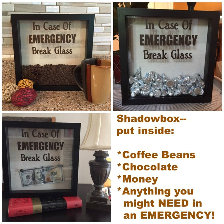 DECAL ONLY for DIY Shadow box-In Case Of Emergency Break Glass, Coffee Shadow…