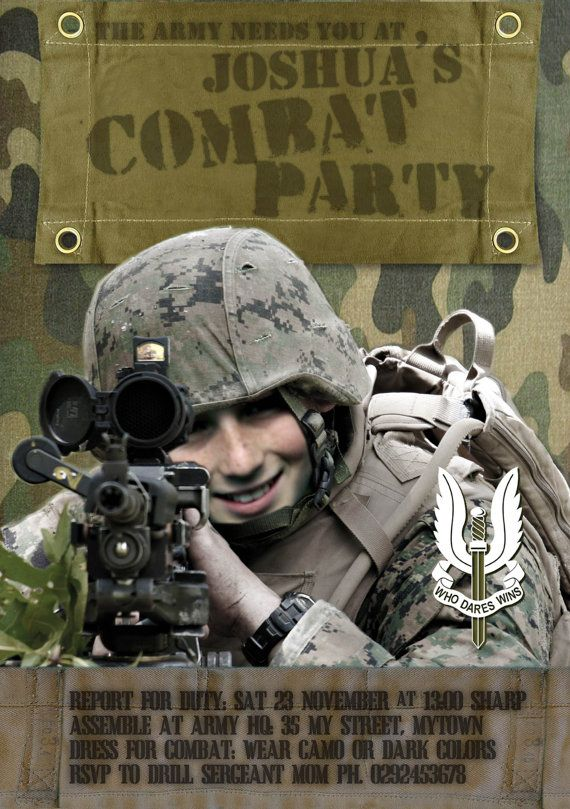 army combat party printable invitation