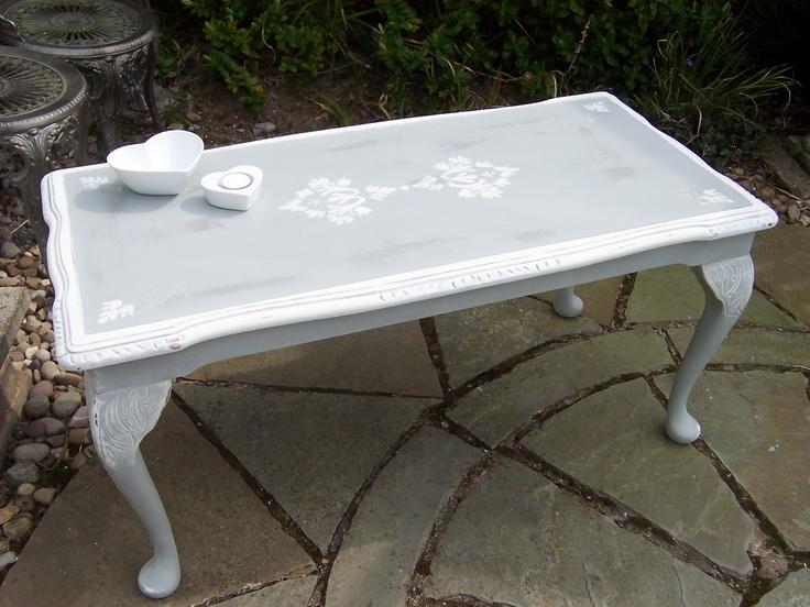 Stenciled coffee table , Annie Sloan, Paris Grey & Old White £95