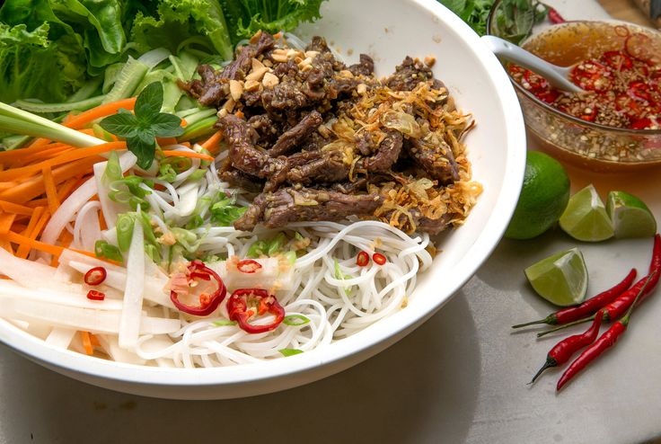 Vietnamese Lemon Grass Beef and Noodle Salad (Bun Bo Xao) by David Tanis (one of my favorites)