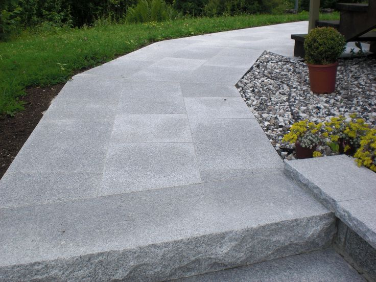 Granite stairs together with granite tiles