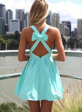 Blue Sleeveless Mini Dress with Open Cross Bow Back,  Dress, bow back  sleeveless dress, Chic