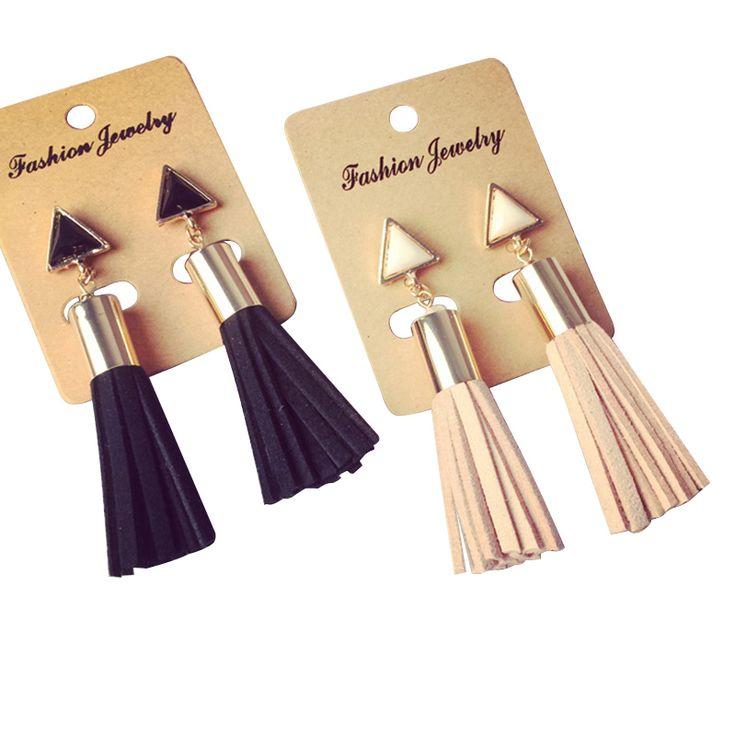 2016 New Vintage Triangle Tassel Drop Earrings Faux Suede Fabric Long Dangle Earrings for Women Fine Jewelry Wholesale EW2299