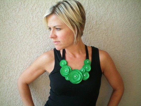 Flower Bib Necklace...felt...statement...Flower Swirl Necklace (green apple). $20.00, via Etsy.