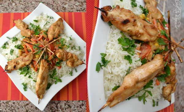 Chicken satay, stir-fry vegetables with orange scented rice: Stir Fry Vegetables, Dishes Worth, Friends Rasha, Scented Rice, Stir Fries Vegetables, Long Time, Chicken Satay, Dear Friends, Orange Scented