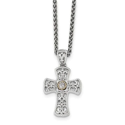 14K Two-Tone Gold Sterling Silver w/14k Diamond Cross Necklace