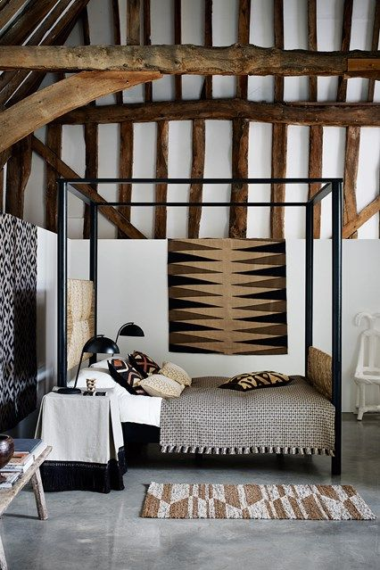 Bold prints and a variety of textures adorn this room, which was created by our decoration team, Gabby Deeming and Ruth Sleightholme, as part of an African-themed scheme in a converted barn. Discover bedroom design ideas on HOUSE - design, food and travel by House & Garden including part of an African-themed scheme in a converted barn