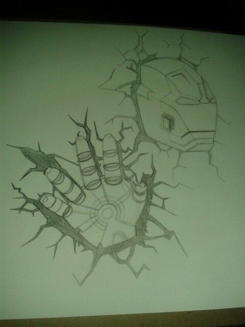 Iron Man smashing through door sketch for a door mural..to be continued....