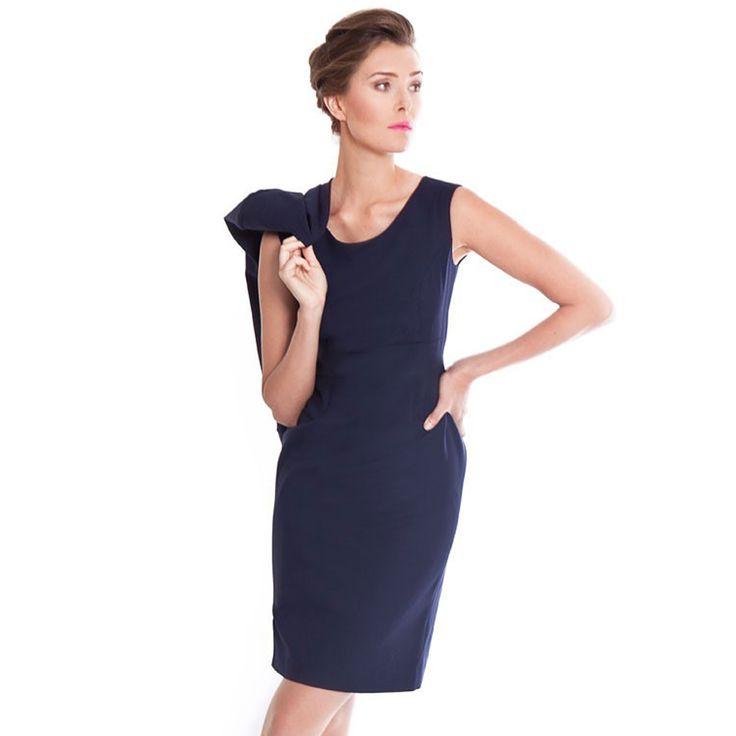 Accent a navy work dress with a skinny black belt. The Etsuko dress in deep indigo. The black version of this dress is sisk-profi.gar's best-selling style, but the deep indigo version provides a .
