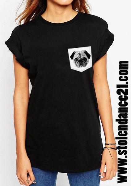 Pug Life Real Pocket Tee Crew Neck Top T shirt code50837
