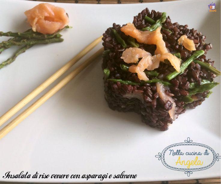 Insalata di riso Venere con asparagi e salmone @gialloblogs
