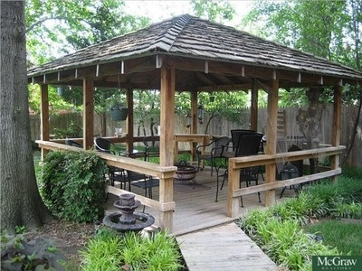 back yard tiki hut Dream Home Garden huts Backyard fireplace Backyard landscaping