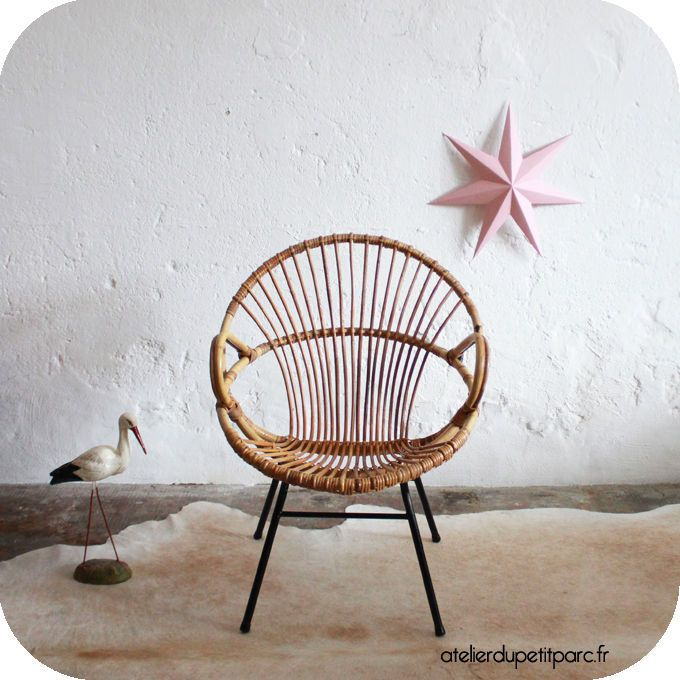 Fauteuil rotin coquille