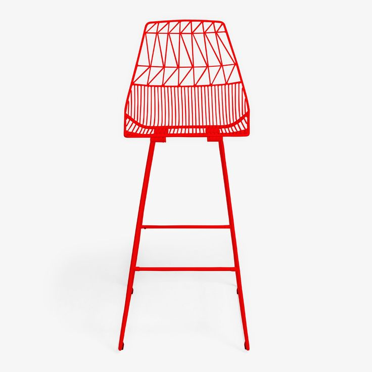 Interpreting basket-weaving techniques in bright, playful style, the Bend Goods Red Bar Stool encapsulates an inherent creative impulse to shape and sculpt. Perfect for both indoor or outdoor use, its galvanized iron prevents rusting while the pop of powder coated color complements the cool, geometric design.