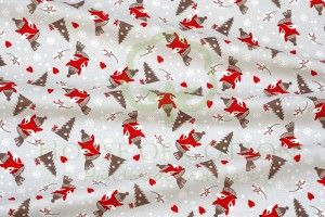 Foxes & Christmas trees cotton fabric