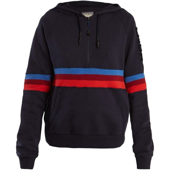 LNDR Antics cotton-jersey performance hooded sweatshirt ($220) ❤ liked on Polyvore featuring tops, hoodies, navy multi, navy hoodies, navy blue top, one sleeve top, navy top and one shoulder tops