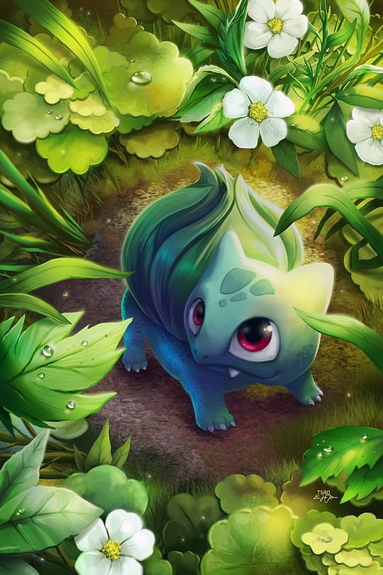 Beautiful Manga Art by Eric Proctor! Oh my gosh, such an adorable Bulbasaur!!! If love to stumble upon him in the woods! XD