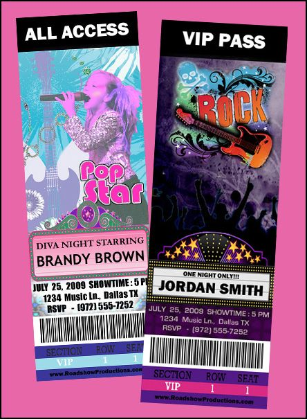 22 best invites images on Pinterest Invitations, Birthday party - invitations that look like concert tickets