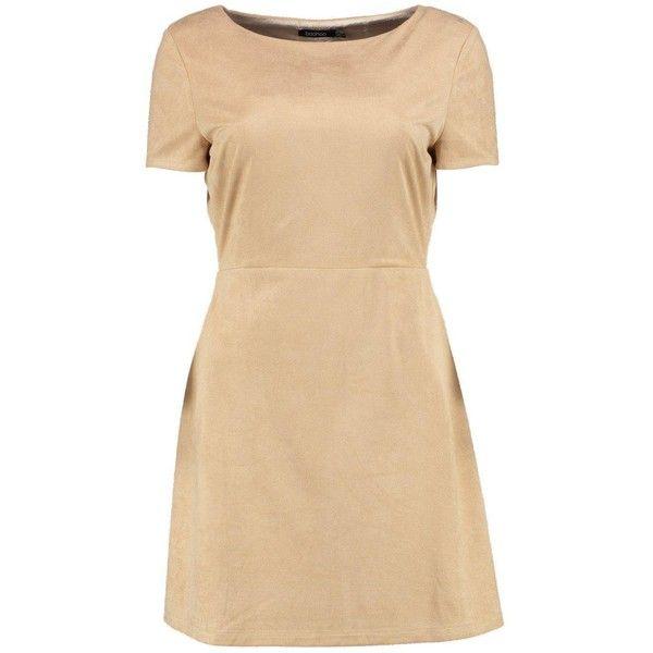 Boohoo Liz Suedette Cross Back 1/2 Sleeve Dress ($16) ❤ liked on Polyvore featuring dresses, criss cross back dress, sleeved dresses, criss-cross back dresses, beige dress and cross back dress