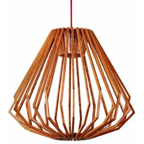 Geometric Wide Ash Wood Pendant Light