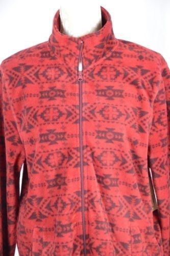 29.61$  Buy now - http://viuir.justgood.pw/vig/item.php?t=1pmte919635 - Arizona Jeans Womens Medium Red Aztec Print Zip Up Fleece Sweatshirt Jacket 29.61$