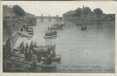 Chalon-sur-Saône, Départ des ouvriers pour le Petit Creusot (advertising Lait D'Appenzell, purgation délicieuse à boire)