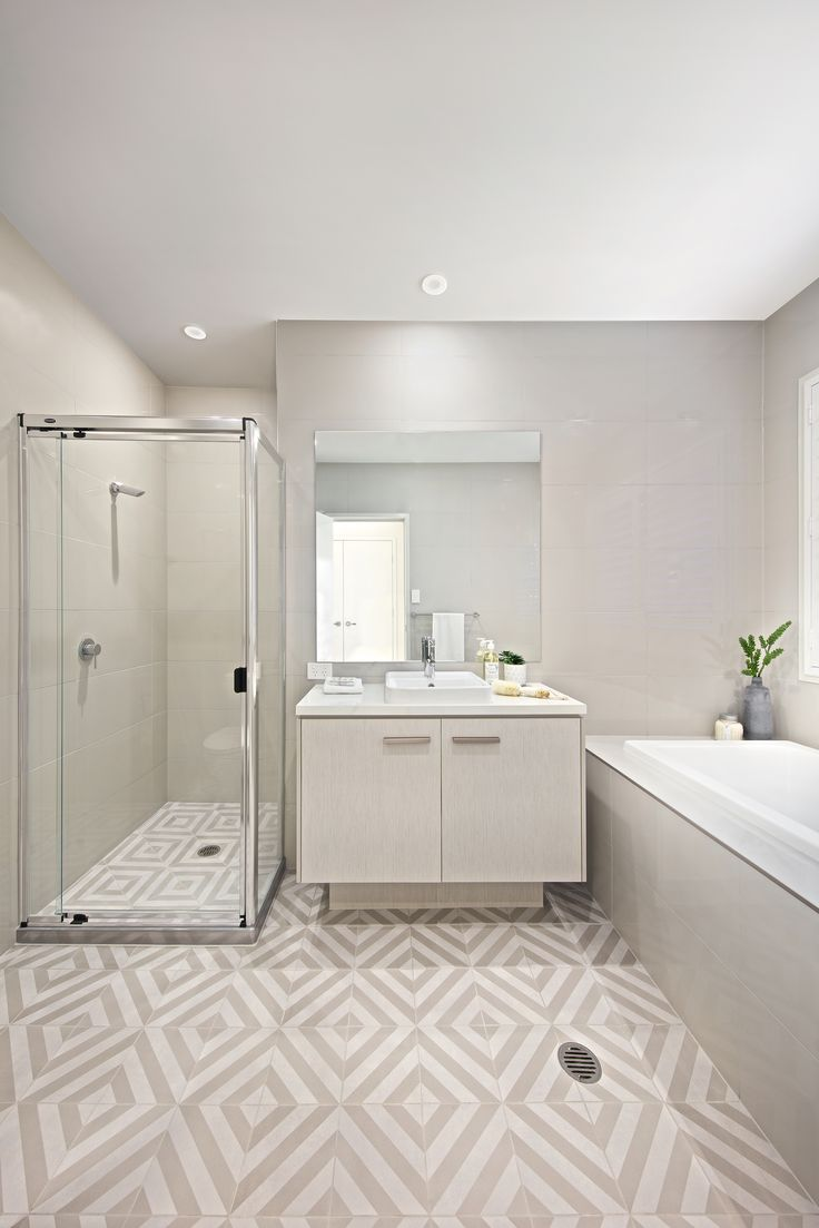 30 best beautiful bathrooms images on pinterest home design main bathroom with feature floor tiles dailygadgetfo Image collections
