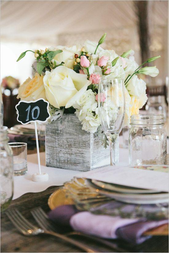 flower box and chalkboard table number @weddingchicks