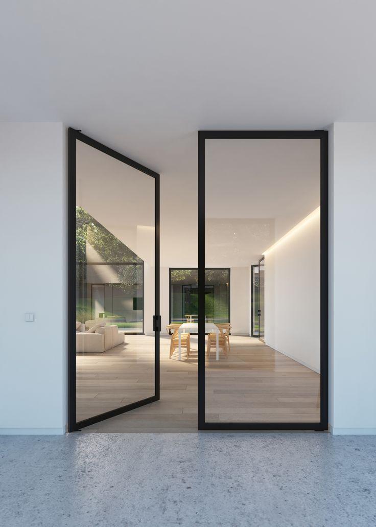 """Double glass door with """"steel look"""" frames - Portapivot"""