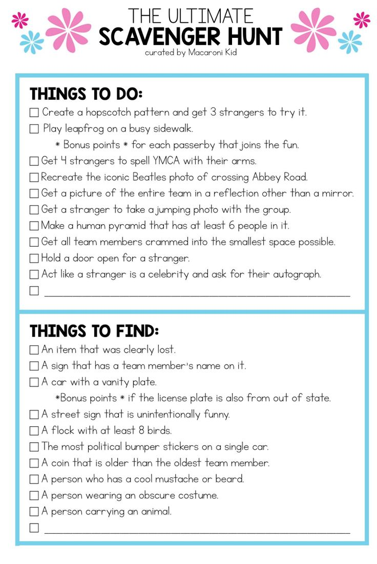 Photo Scavenger Hunt for Teens and Tweens: A FREE Printable!