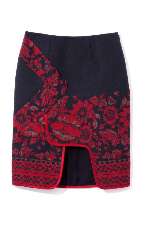 Prabal Gurung Embroidered Denim Wrap Skirt