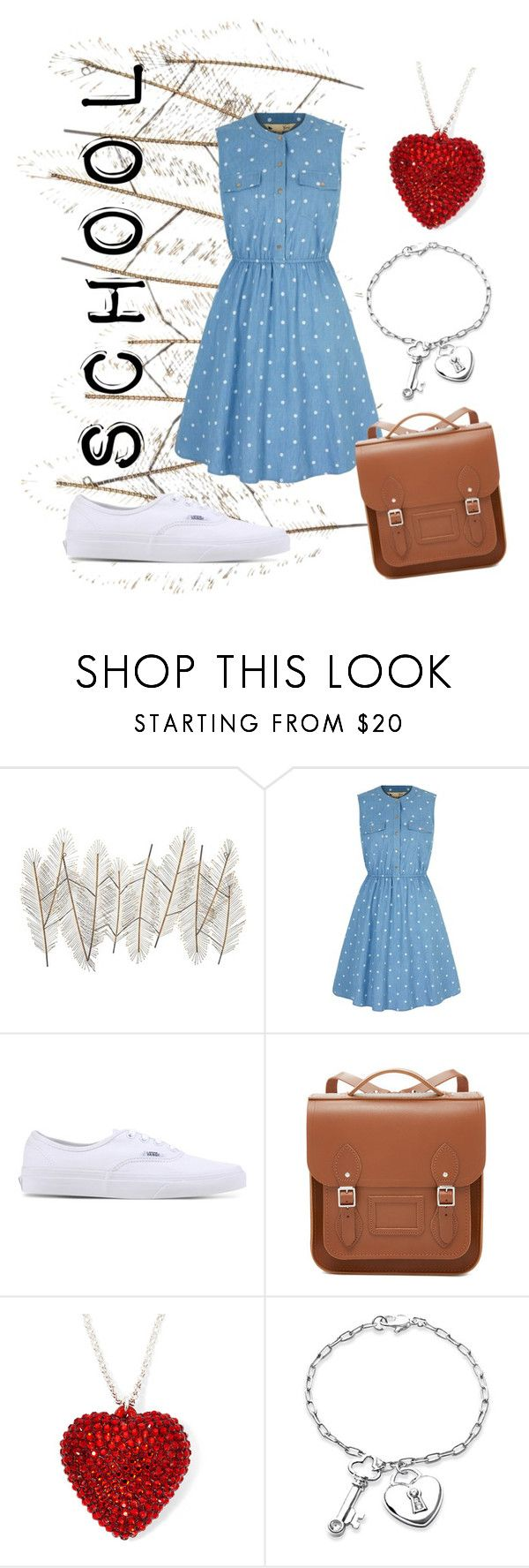 """School"" by dianamaria267 ❤ liked on Polyvore featuring Universal Lighting and Decor, Yumi, Vans, The Cambridge Satchel Company and Bling Jewelry"