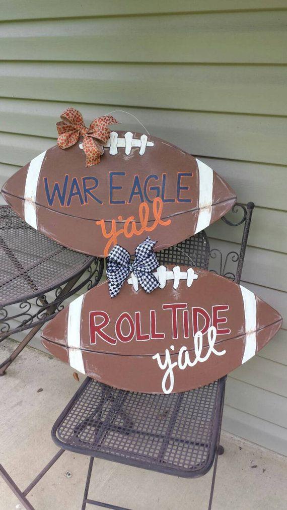 Alabama / Auburn wooden football door hanger by flourishhomedecor