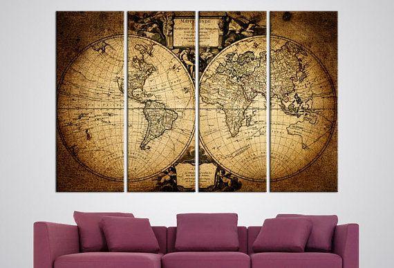 Hemispheres Map Large Canvas Print Old World Map Wall Hanging - Large world map wall hanging