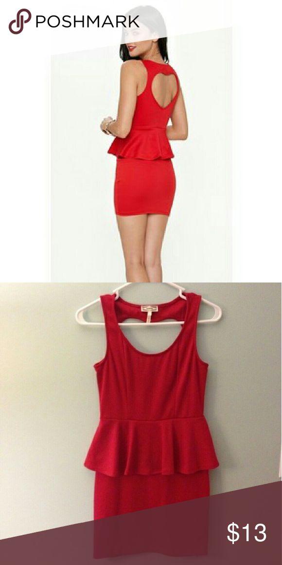 Red peplum dress heart shaped back Short peplum dress with a heart shaped back Dresses
