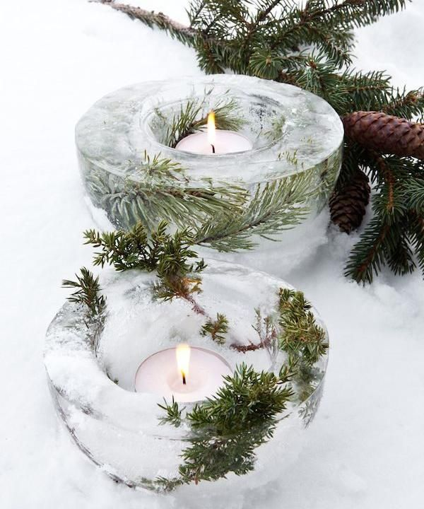 Bougeoirs glacés DIY décoration de Noël gratuite ou presque déco Noël petit prix