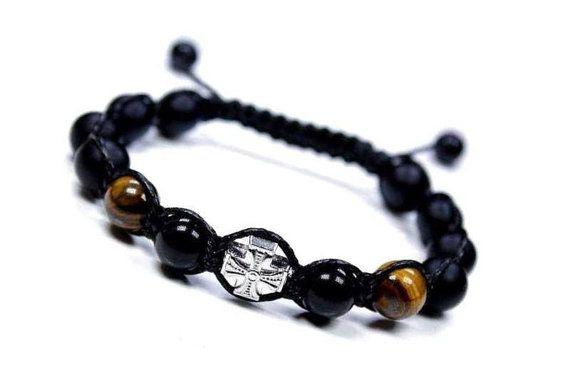 10mm Shamballa  Bracelet Men's Onyx Shamballa by ElegantJewelryRMM