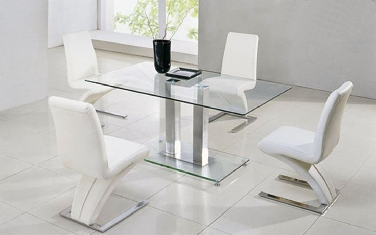 Actona Glass Dining Table with  DesignerChairs in White Faux