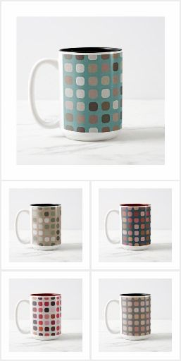 Round Squares Pattern Mugs. Stylish coffee mugs with beautiful contemporary image of rounded squares pattern in a wide range of trendy and pretty colors. Original drinkware for those who are looking for something unique to use. This modern design can also be found on matching pillows, blankets, table and pendant lamps, tablecloths and runners, serving trays, beverage coasters, soap dispensers and toothbrush holders, bath mats, clocks, dog beds, and much more...