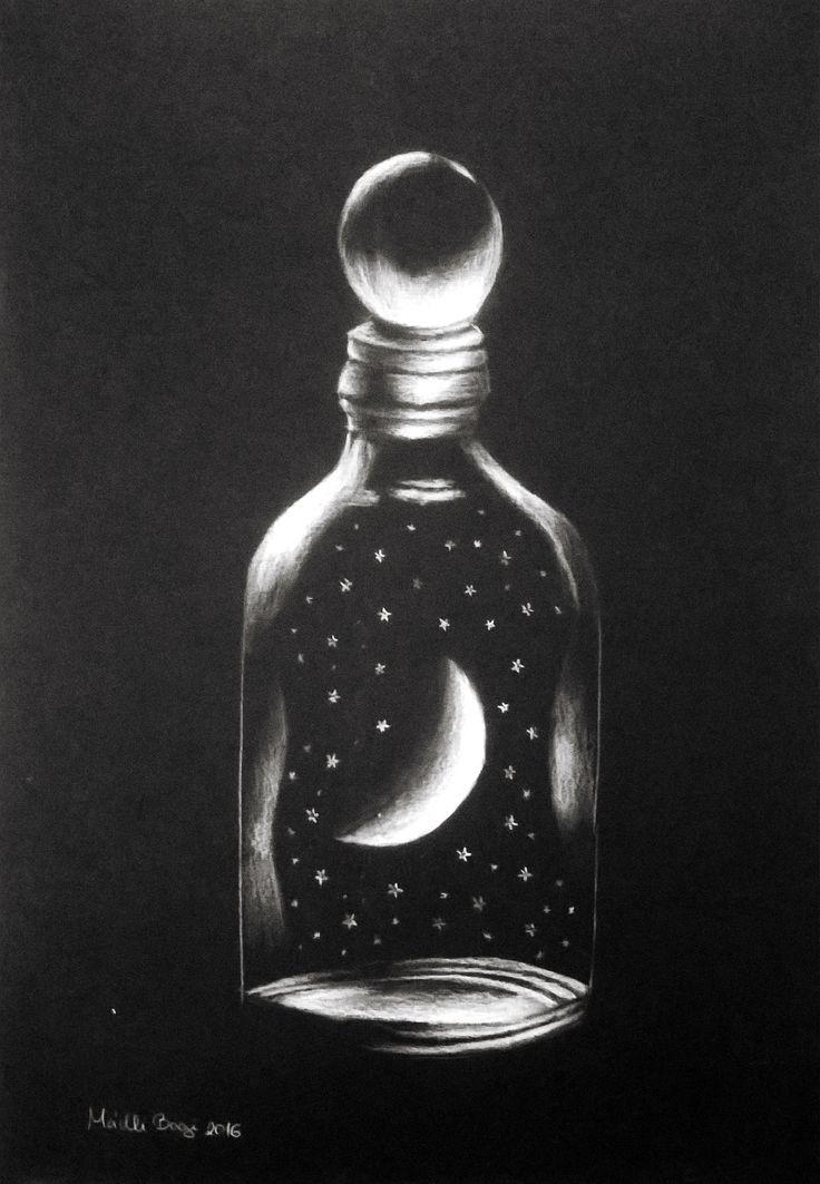 #moon #stars #bottle #illustration #BW #handdrawing by me