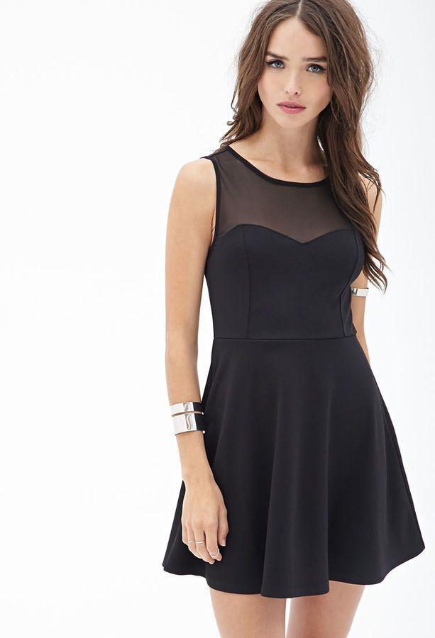 $14, Black Skater Dress: Forever 21 Mesh Trimmed Skater Dress. Sold by Forever 21. Click for more info: https://lookastic.com/women/shop_items/71614/redirect