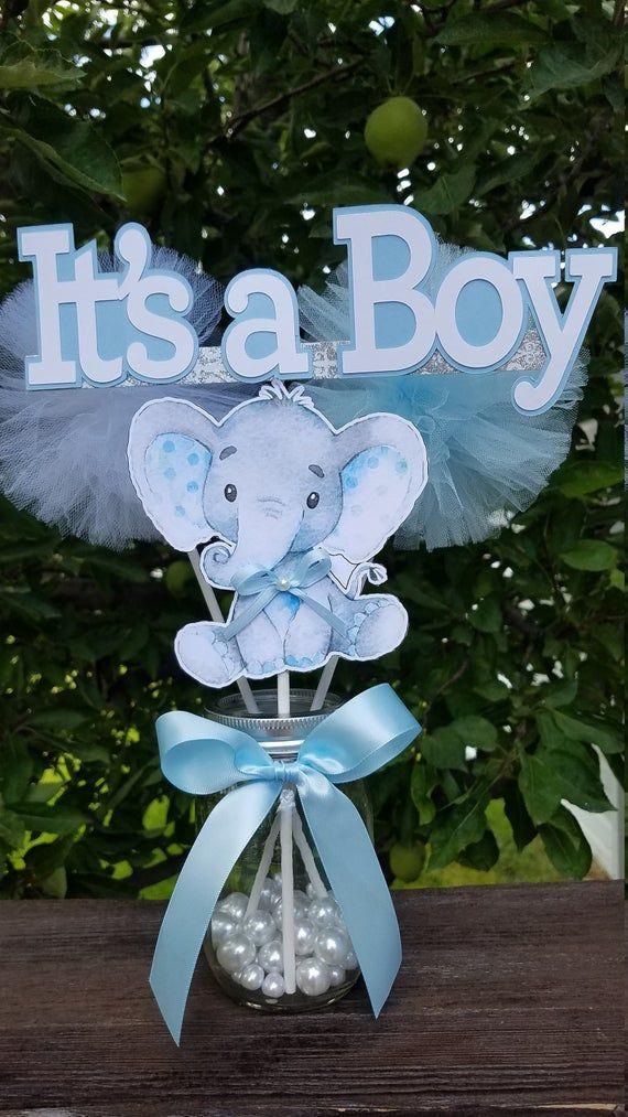 IT'S A BOY Elephant Centerpieces, Baby Shower Centerpieces, Elephant Theme Decorations, Elephant baby shower decorations. it's a Boy BABY