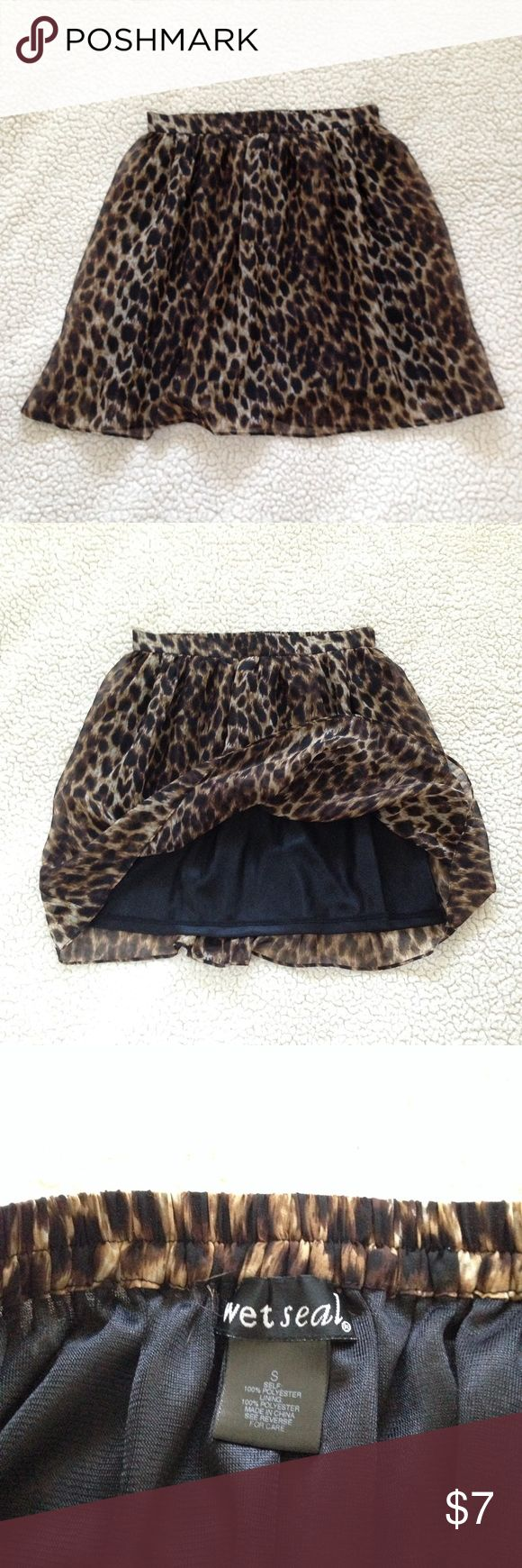 Wet Seal Cheetah Skirt Super soft double lined cheetah skirt • Size Small • Elastic waistband  • Excellent condition • Light weight and flowy!  Tags: charlotte russe, forever 21 Wet Seal Skirts