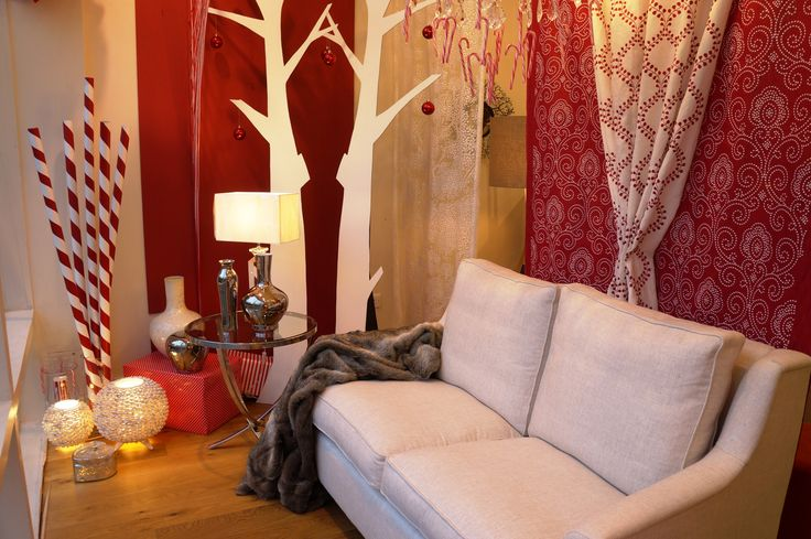 Bristol's red & white Christmas window 2014 featuring hanging lengths from Robert Allen, our lovely Holwell sofa and Farrow & Ball Incarnadine paint.